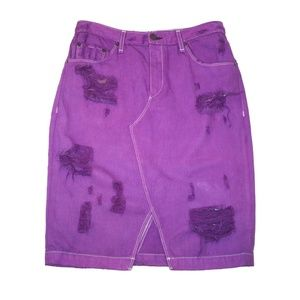 Rag & Bone 27 Distressed Ripped Denim Pencil Skirt
